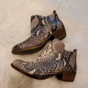 Lucky Brand Snake Skin Ankle Boots